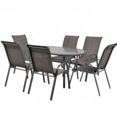 Masa cu 6 scaune schelet metalic Hecht Ekonomy Set 6 - Set gradina