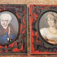 Doua picturi mininaturale cu rame din fildes - Pictor strain, Portrete, Ulei, Altul
