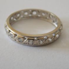 Inel din aur alb de 18k cu zirconii-marime 53 - Inel aur alb