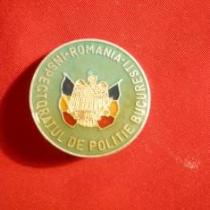 Insigna Inspectoratului Politie Bucuresti ,d= 2,5 cm , metal si email