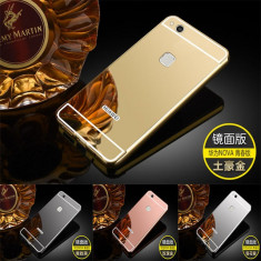 Husa / Bumper aluminiu + spate acril oglinda pentru Huawei P10 lite - Bumper Telefon, Auriu
