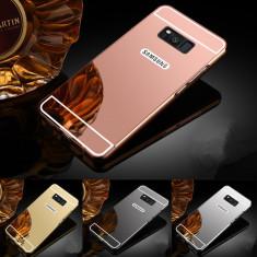 Husa / Bumper aluminiu + spate acril oglinda pentru Samsung Galaxy S8 plus - Bumper Telefon, Negru