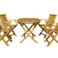 Masa cu 4 scaune lemn masiv Hecht Basic Set 4 - Set gradina
