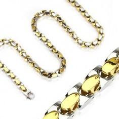 Colier din oțel - ovale argintii și aurii - Colier inox