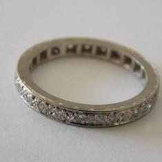 Inel de platina cu diamante -marime 55 - Inel diamant, Carataj aur: Nespecificat, Culoare: Alb