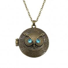Lantic / Medalion -Bufnita/Owl - Loc poza/inchidere metalica/Nou - Lantisor fashion