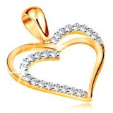 Pandantiv realizat din aur galben de 14K - contur dublu inima, linie din zirconii transparente