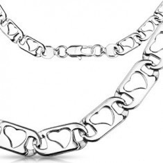 Lanț oțel inoxidabil - plat cu inimioare - Lantisor inox