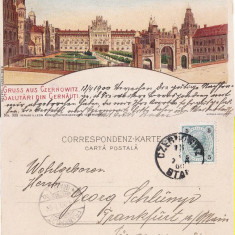 Cernauti, Bucovina - litografie Leon Konig - Carte Postala Bucovina pana la 1904, Circulata, Printata