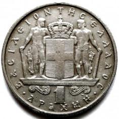 Grecia, Constantine II, 1 Drahma 1967, MONETARIA Cehoslovacia - Kremnica, Europa, Crom