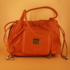 Geanta din piele naturala de culoare portocalie. - Geanta Dama