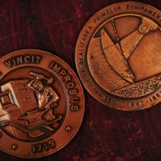 LOT 2 MEDALII VECHI DIN BRONZ - ÎNTREPRINDEREA CONSTRUCȚII METALICE - CMB BOCȘA! - Medalii Romania, An: 1987