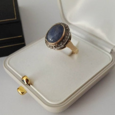 Inel din aur 14k cu safir cabochon si diamante - Inel diamant, Culoare: Galben