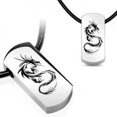 Pandantiv din oțel dragon chinezesc - Colier inox