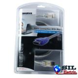 Cablu HDMI tata HDMI tata Transparent + LED albastru 1.5m Konig