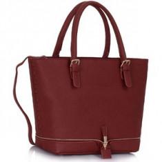 L&S Fashion LS00315 geanta pe umar burgundy - Geanta Dama, Geanta de umar