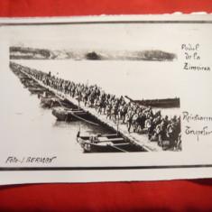 Fotografie- copie - Podul de la Zimnicea -trecerea trupelor romanesti din Bulgar - Fotografie veche