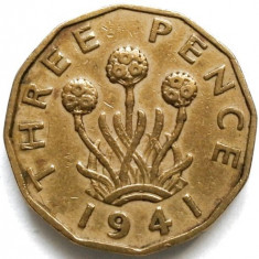 WW2, MAREA BRITANIE, REGELE GEORGE VI, 3 PENCE 1941, DODECAGONALA 12 LATURI, Europa, Bronz