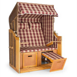 Blum Feldt Hiddensee scaun plaja XL 2 locuri 118 cm , pin si răchită rosu / cu carouri albe