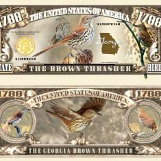 NOU : SUA = FANTASY NOTE (TJ6) = GEORGIA, THE BROWN THRASHER - 2017 - UNC - bancnota america