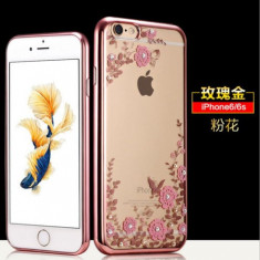 Husa Samsung J3 2016 TPU Flower Rose Gold - Husa Telefon, Transparent, Gel TPU, Fara snur, Carcasa