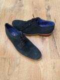 Pantofi oxford barbat TED BAKER originali superbi piele intoarsa bleumarin sz.42, Ted Baker
