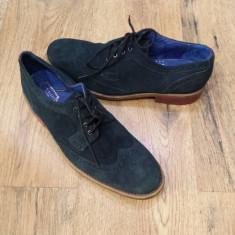 Pantofi oxford barbat TED BAKER originali superbi piele intoarsa bleumarin sz.42 - Pantofi barbat Ted Baker, Casual