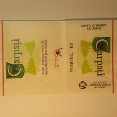 Romania - ambalaj pachet tigari CARPATI (pe verso este scris cu pixul)