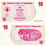ZIMBABWE 10 dollars 2006 BEARER CHEQUE UNC!!!
