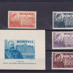 ROMANIA 1945 LP 166 SI LP 167 FUNDATIA CAROL SERIE SI COLITA MNH - Timbre Romania, Nestampilat