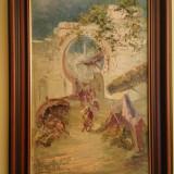 "TABLOU  Lucien A. Perona (1906 - 1971) ""POARTA DIN MELLAH (ORAN)""   ULEI PE LEMN, Nud, Realism"