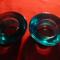 2 Recipiente din sticla groasa albastru-verde - pt. lumanari sau sare si piper
