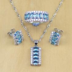 Set Argint 925 - Sapphire albe/ Topaz - Albastru -Cercei/Inel/Pandantiv - Femeie - Set bijuterii argint