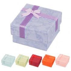Cutie de cadou pentru cercei - nuanțe pastel de marmură cu fundiță - Cutie Bijuterii