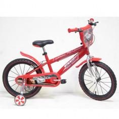 Bicicleta Cars 16 inch (frane pe ambele roti) sigilate! - Bicicleta copii E&L Cycles, 12 inch, Numar viteze: 1, Ajutatoare