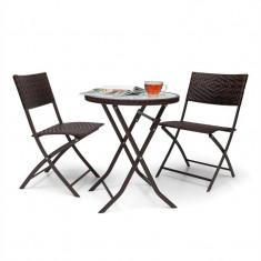 Blum Feldt Sunrise 3 buc. Masa cu LED-uri Rattan Bistro Set bistro și 2 scaune pliante mobilier din sticla maro - Set gradina