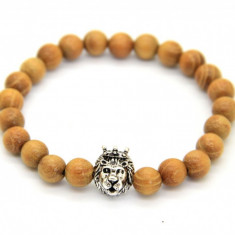 Bratara Wood Crown Lionhead Silver - Bratara din margele
