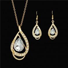 Set Aur- Alb/White- Filigran 18k - Safire Austria Cristal - Femei/Elegant/Safire - Set bijuterii placate cu aur