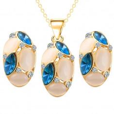 Set African/Turcia 18k - Beans/Boabe/Boabe de fasole -Albastru/Blue/Cutie cadou - Set bijuterii placate cu aur