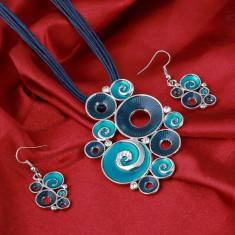 Set Pandativ/Medalion/Cercei - Cercuri Turcesti /Turkish- Albastru/Blue/Cutie