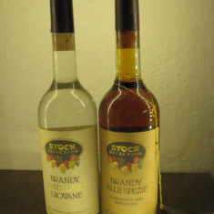 2 sticle brandy Stock selection, distillato giovane - alle spezie - cl 50 gr 38 - Cognac