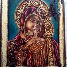 Icoana in relief pe lemn Fecioara Maria si pruncul - Icoana pe lemn