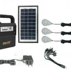 Panou solar kit fotovoltaic 3 becuri radio mp3 USB incarcare telefon GD8133
