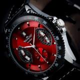 Ceas mecanic full automatic Winner Red #P003 - Ceas barbatesc, Mecanic-Automatic, Piele ecologica