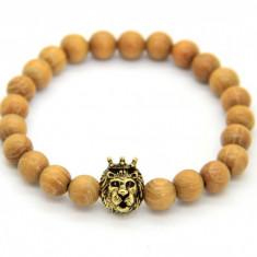 Bratara Wood Crown Lionhead Gold - Bratara din margele