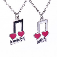 Pandantiv / Colier / Lantisor Best friend Friends Note Muzicale - 2 Bucati