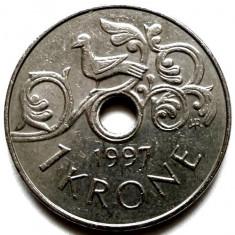 NORVEGIA, 1 KRONE 1997, Europa, Crom