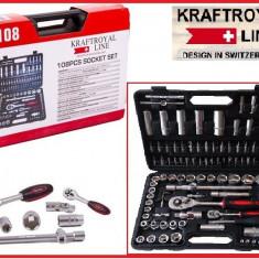 Trusa Scule-KRAFTROYAL-Premium-CR/V-Chei/Tubulare/Clichet/E-uri-108PCS
