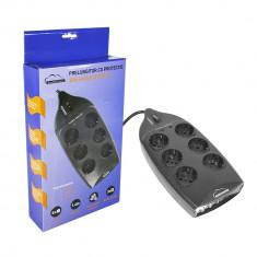 Aproape nou: Prelungitor SilverCloud GE01 6 prize cu protectie, intrerupator, 1.4 m - UPS