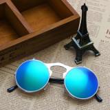 Ochelari Soare Retro / Steampunk Style Lentila Rotunda Cu Flip - Model 3, Unisex, Protectie UV 100%